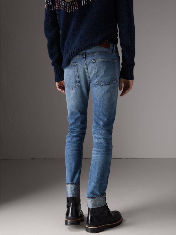 Slim Fit Washed Japanese Selvedge Denim Jeans in Light Indigo - Men | Burberry United Kingdom - cell image 2