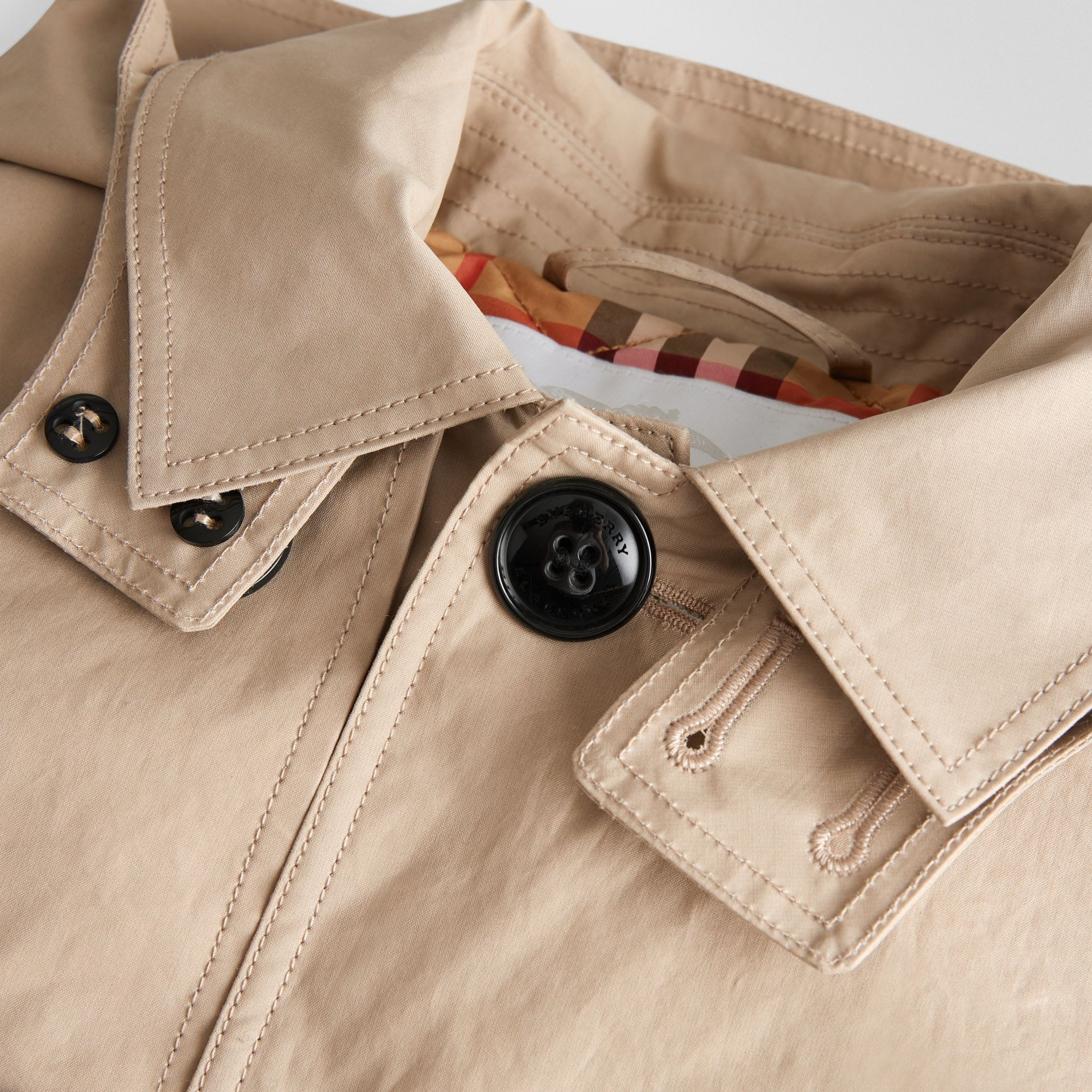 Detachable Hood Cotton Car Coat in Honey | Burberry - gallery image 1