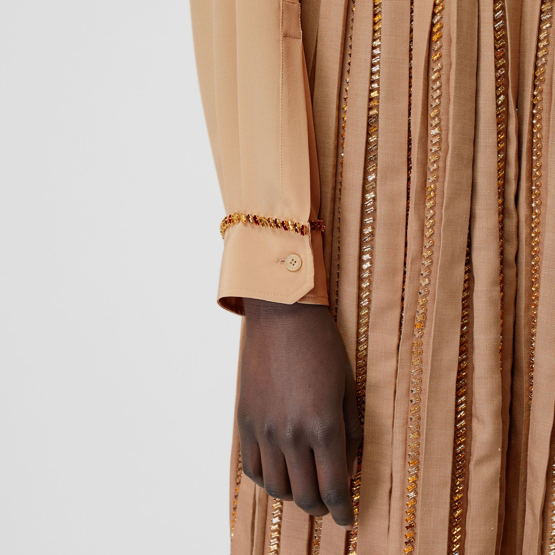 Crystal Detail Silk Oversized Shirt in Camel - Women | Burberry - gallery image 4