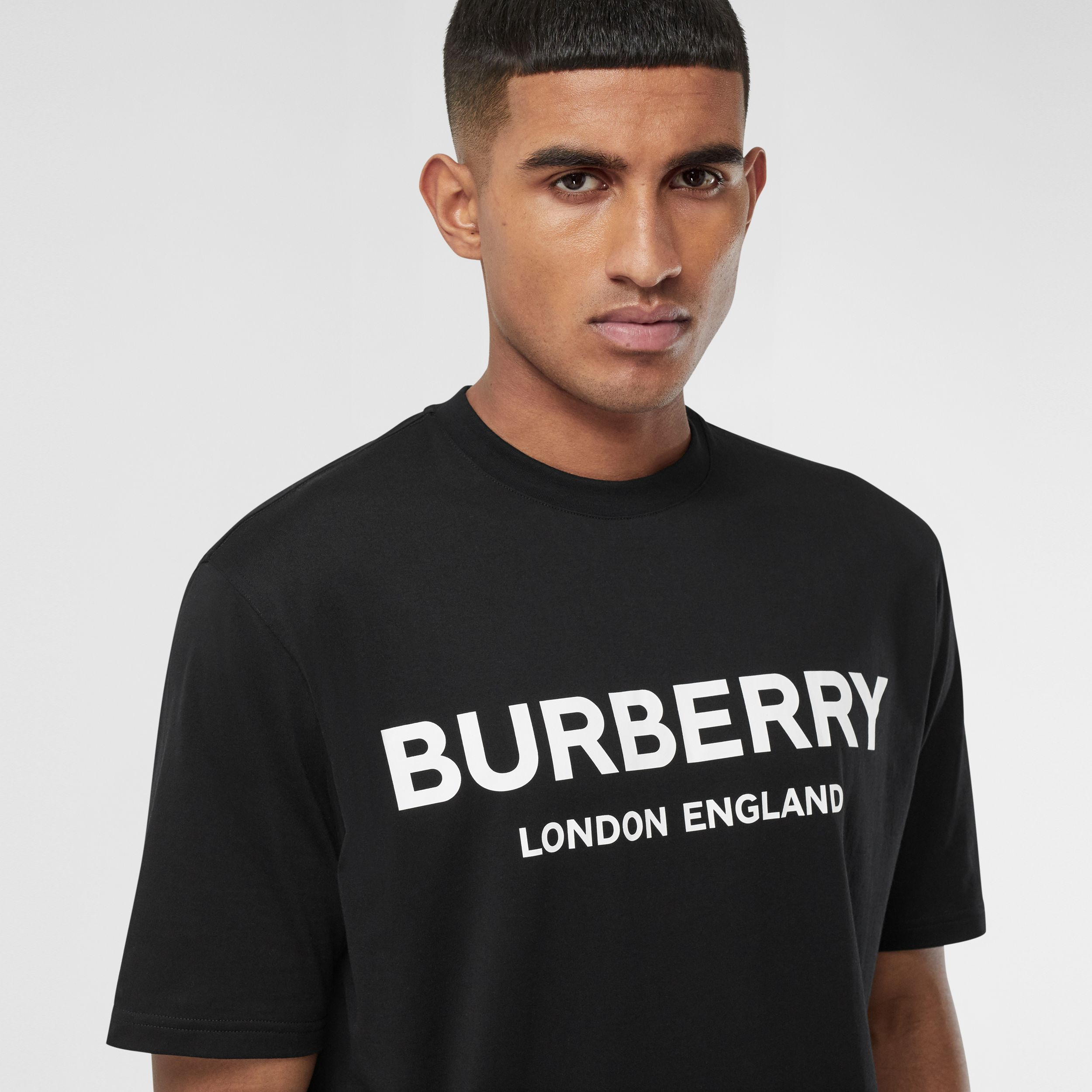 Logo Print Cotton T-shirt in Black - Men | Burberry - 2