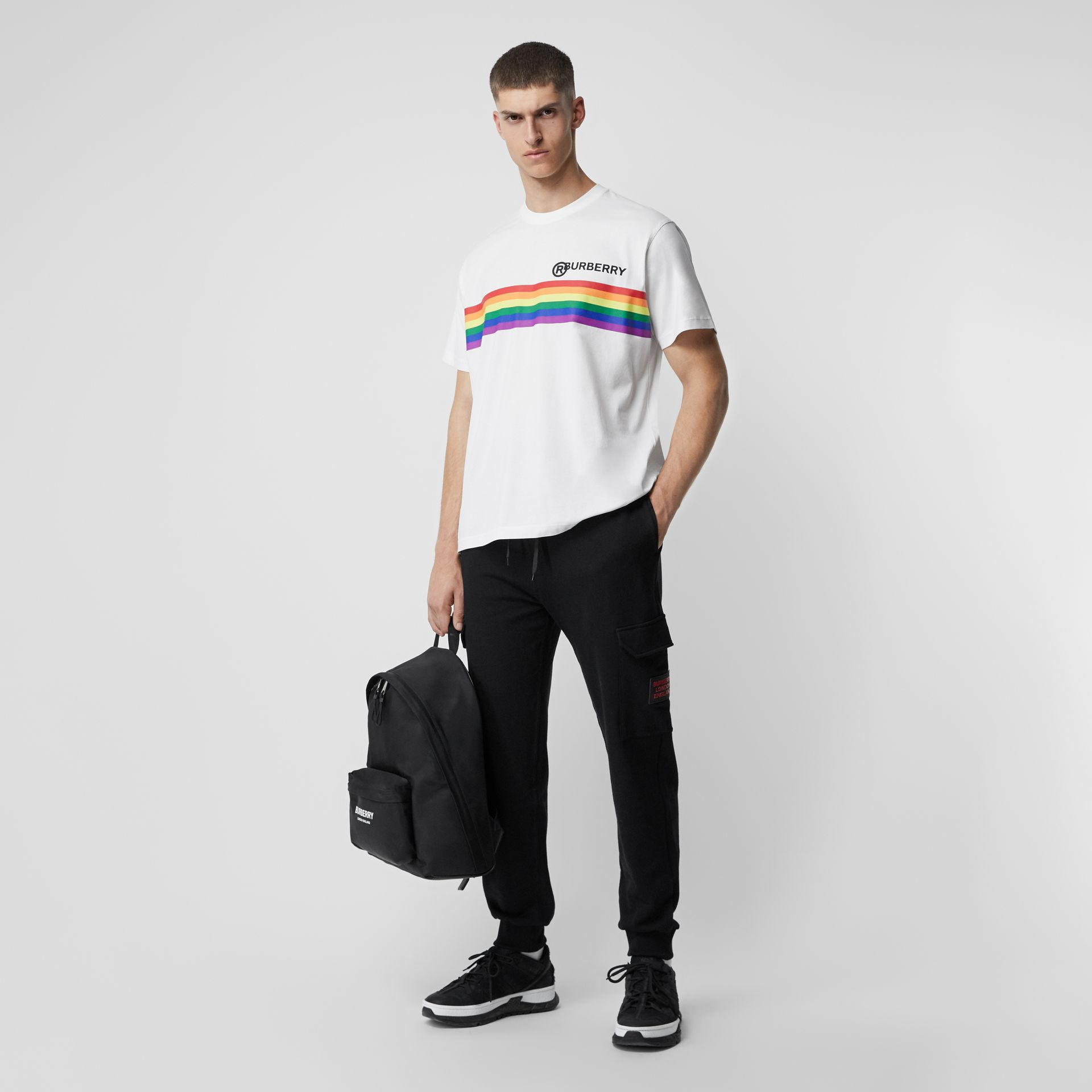 Rainbow Stripe Print Cotton Oversized T-shirt in White | Burberry - gallery image 0