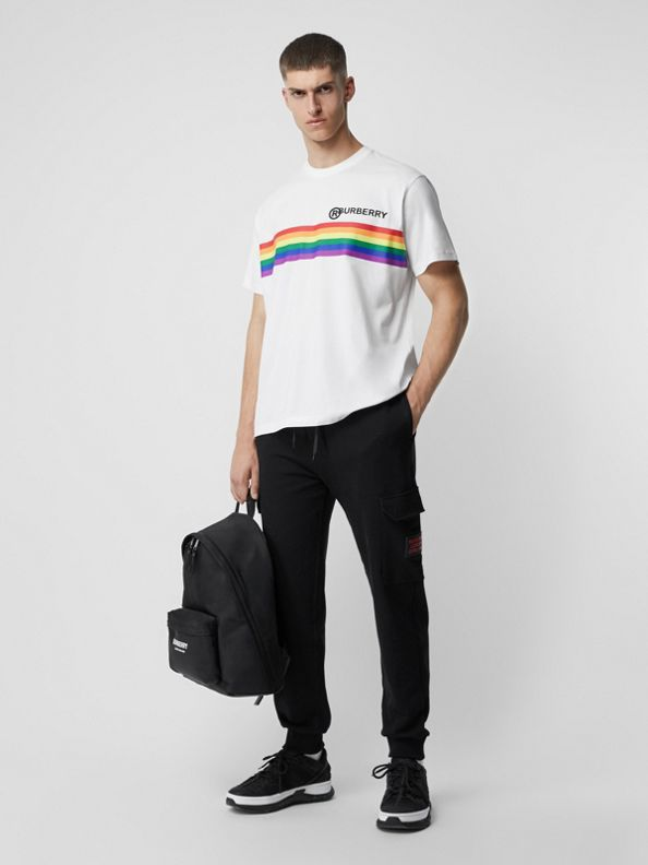 Rainbow Stripe Print Cotton Oversized T-shirt in White