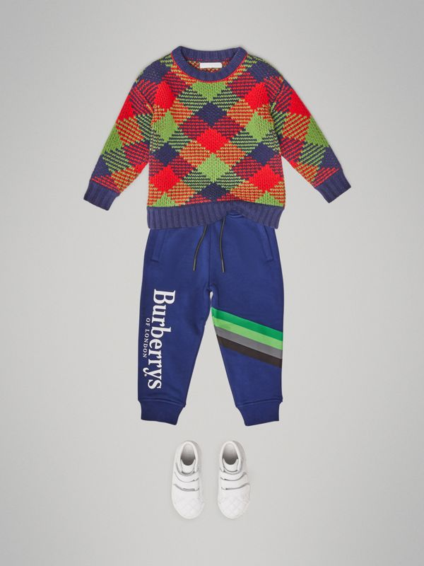 Archive Logo Print Cotton Trackpants in Canvas Blue - Children | Burberry United Kingdom - cell image 2