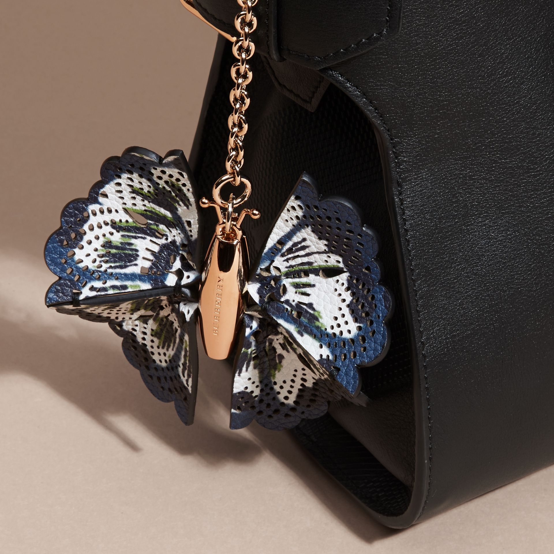 Deep cerulian blue/briliant navy Tie-dye Print Leather Butterfly Charm Deep Cerulian Blue/briliant Navy - gallery image 3