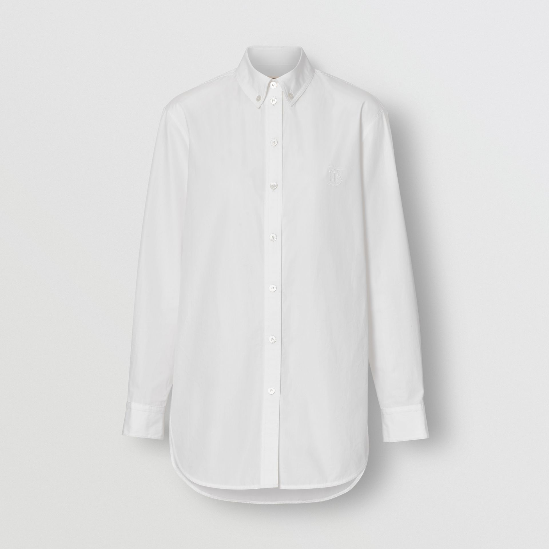 Button-down Collar Monogram Motif Cotton Shirt in White - Women | Burberry - gallery image 3