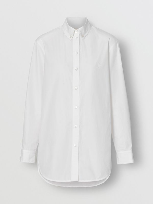 Button-down Collar Monogram Motif Cotton Shirt in White - Women | Burberry United Kingdom - cell image 3