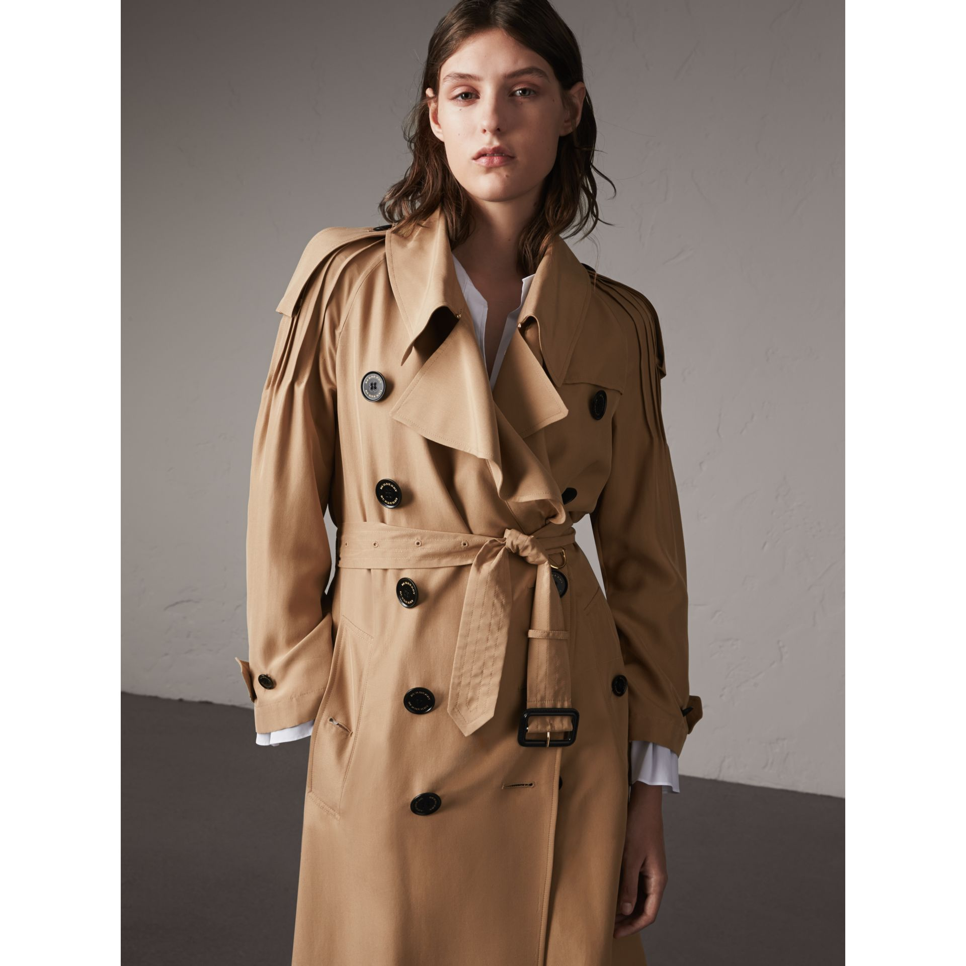 Ruffle Detail Silk Trench Coat in Honey - Women | Burberry - gallery image 6