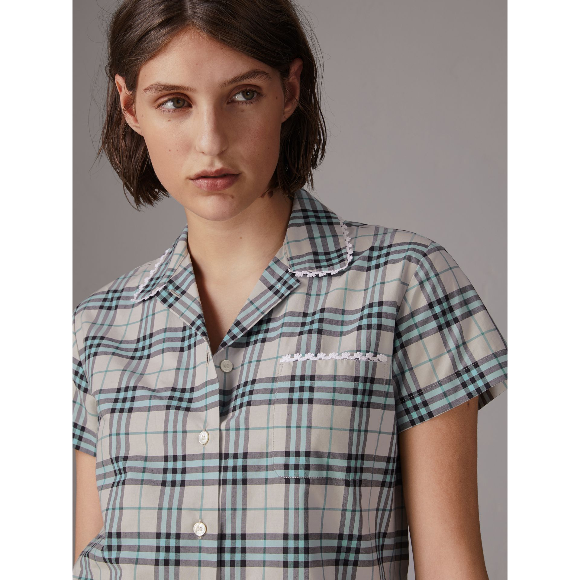 Short-sleeve Lace Trim Check Cotton Shirt in Pale Stone - Women | Burberry - gallery image 1