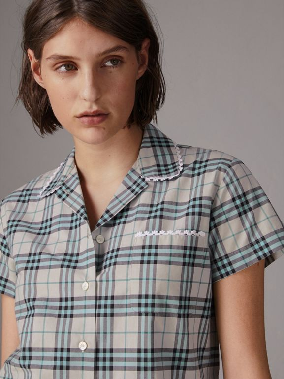 Short-sleeve Lace Trim Check Cotton Shirt in Pale Stone - Women | Burberry - cell image 1