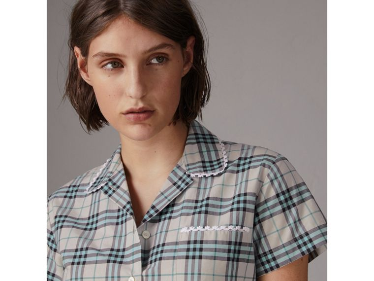 Short-sleeve Lace Trim Check Cotton Shirt in Pale Stone - Women | Burberry United States - cell image 1