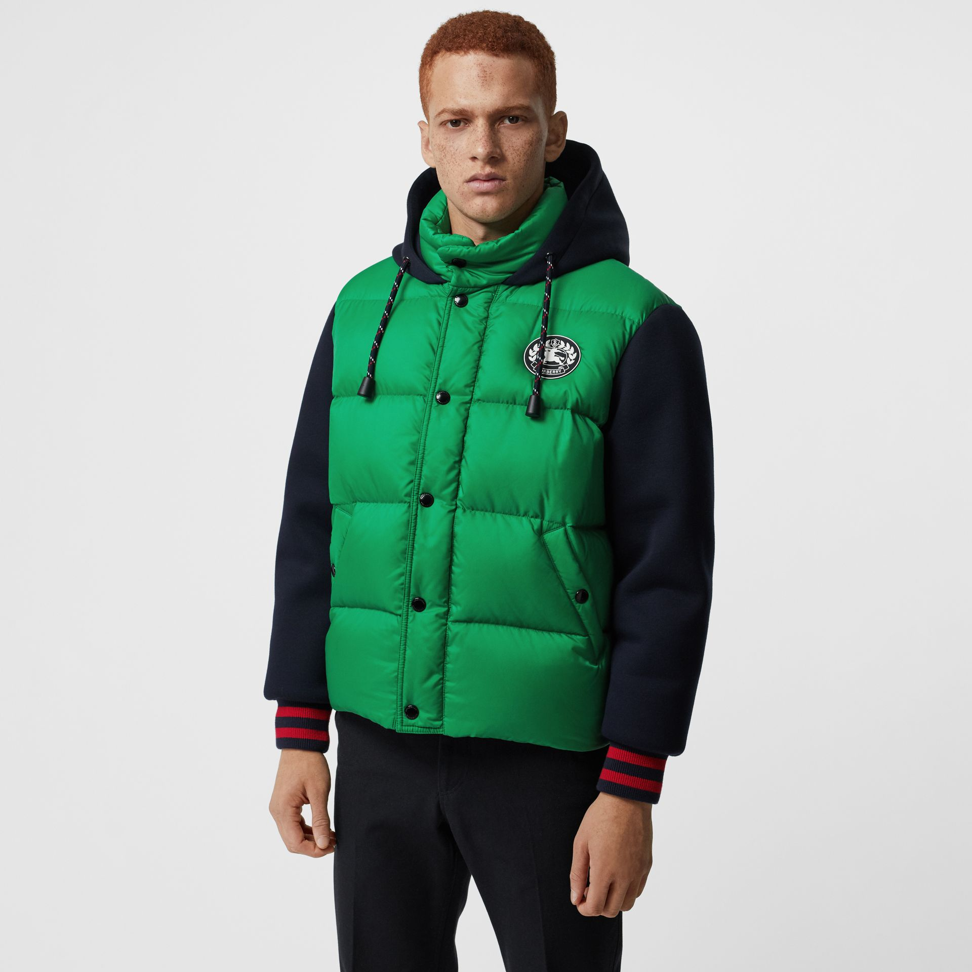 Neoprene Down-filled Hooded Jacket in Vibrant Green - Men | Burberry Hong Kong - gallery image 4