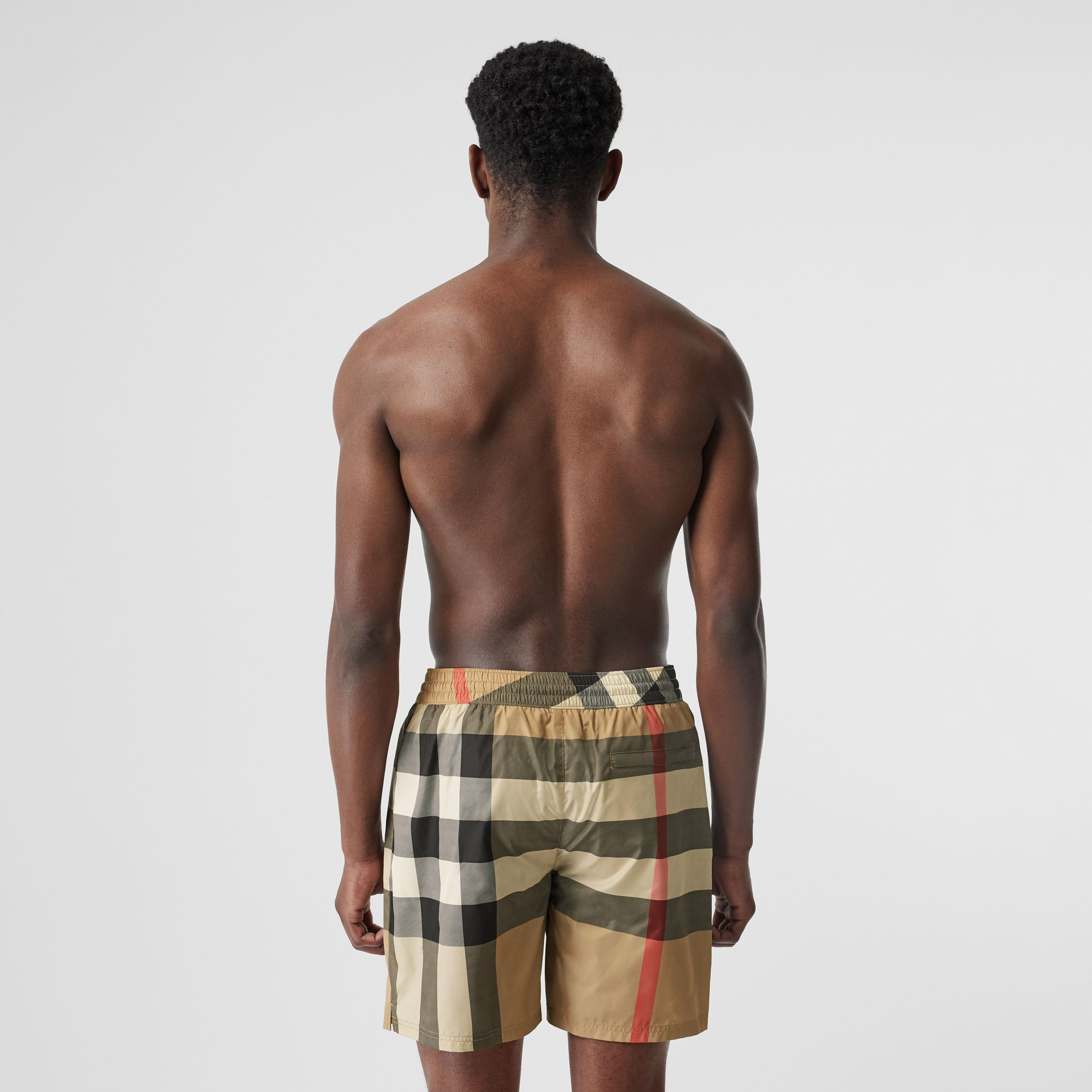 Check Drawcord Swim Shorts in Archive Beige - Men | Burberry Hong Kong S.A.R - 2