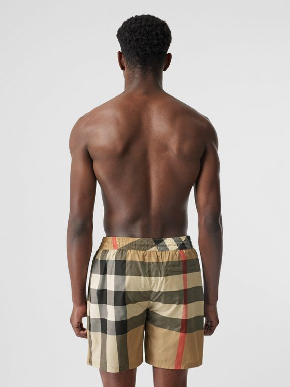 Check Drawcord Swim Shorts in Archive Beige - Men | Burberry United Kingdom - cell image 1