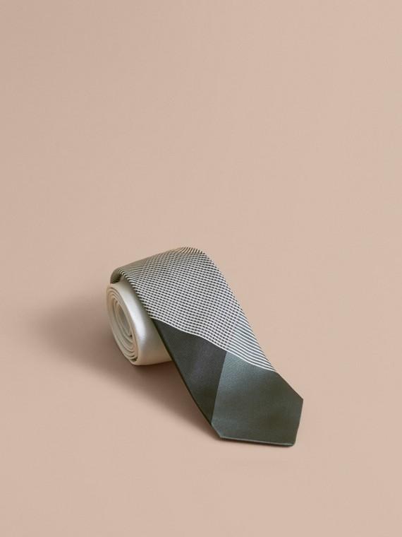 Cravate jacquard moderne en soie à motif vichy (Vert Ardoise)