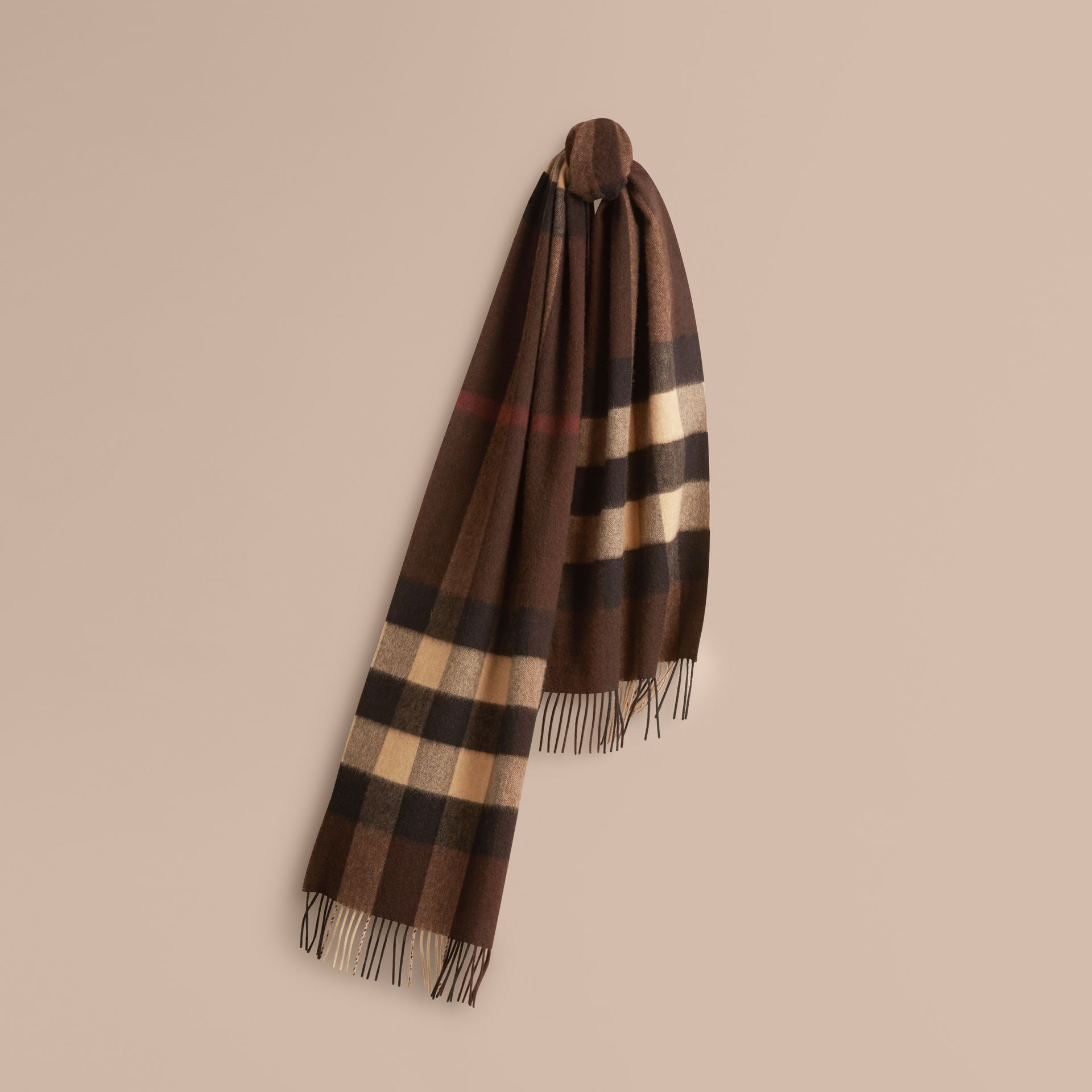 Dark chestnut brown check Giant Exploded Check Cashmere Scarf - gallery image 1