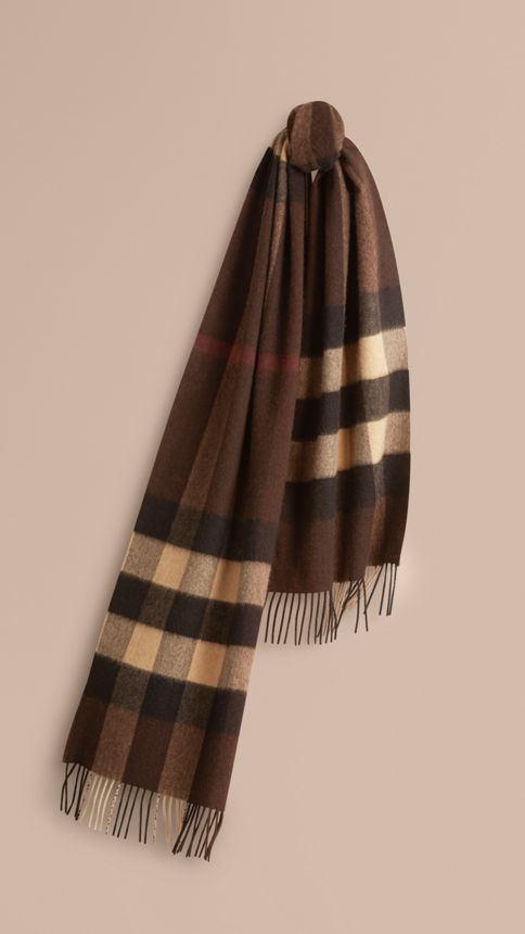 Dark chestnut brown check Giant Exploded Check Cashmere Scarf Dark Chestnut Brown - Image 1