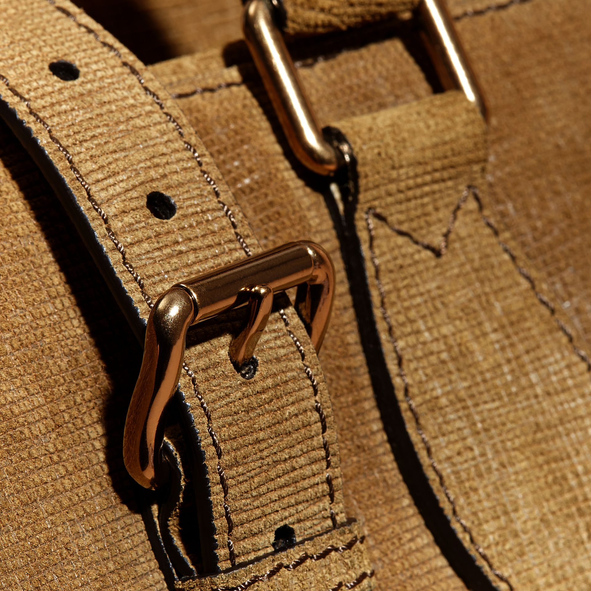 Textured Suede and House Check Detail Holdall - gallery image 6