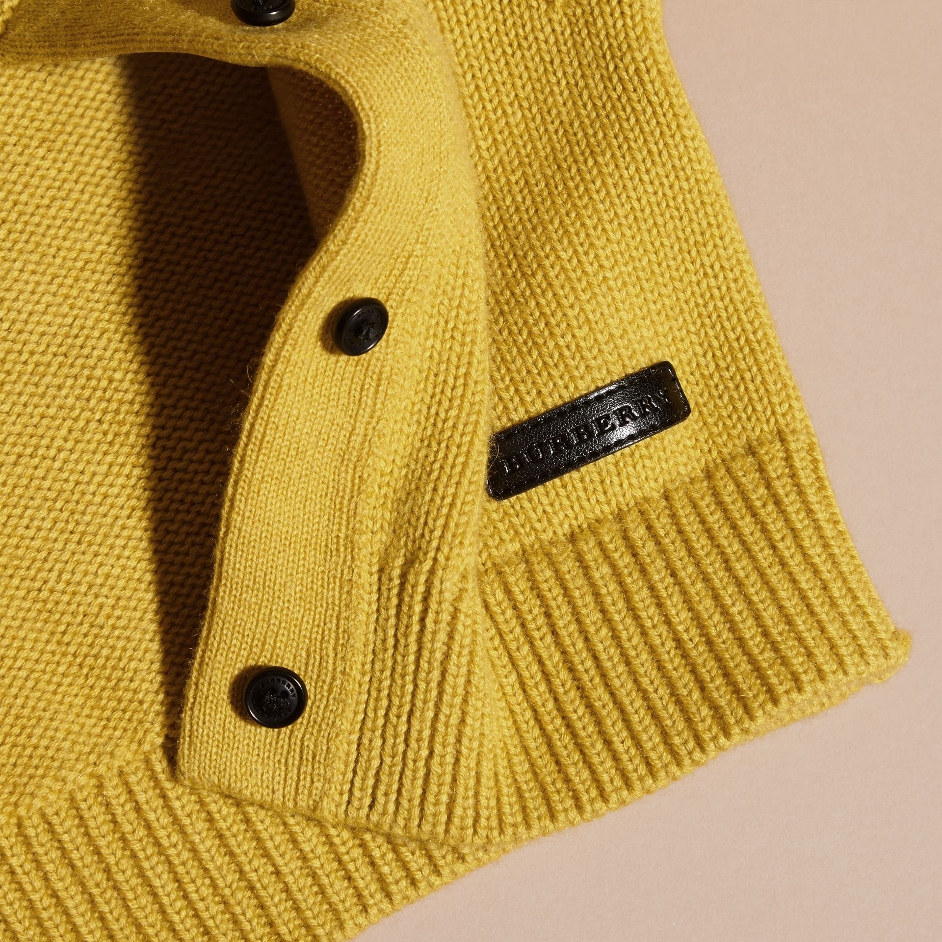 Ochre yellow Cashmere Cotton Cardigan Ochre Yellow - gallery image 2