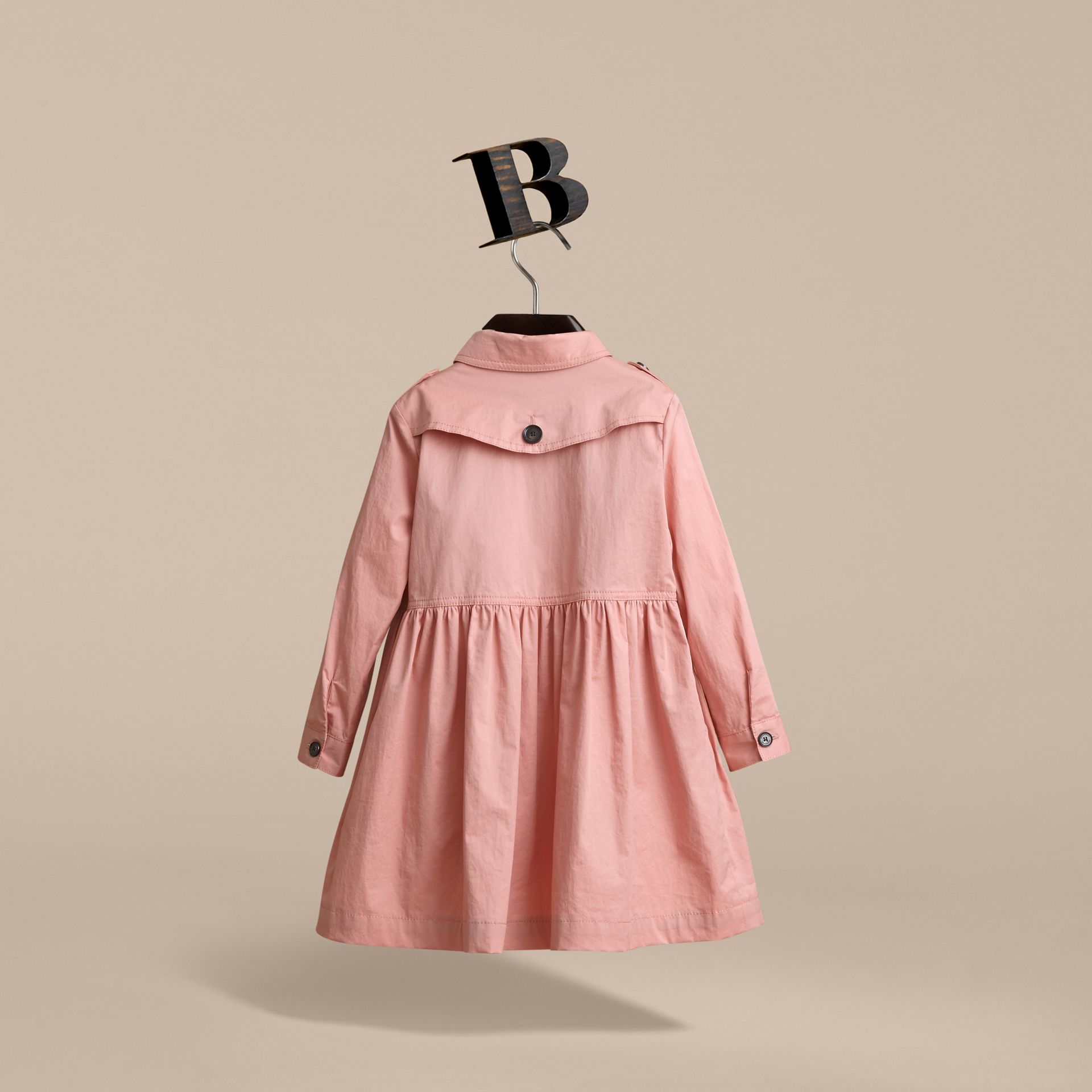 Check Detail Stretch Cotton Trench Dress in Pale Rose | Burberry - gallery image 3
