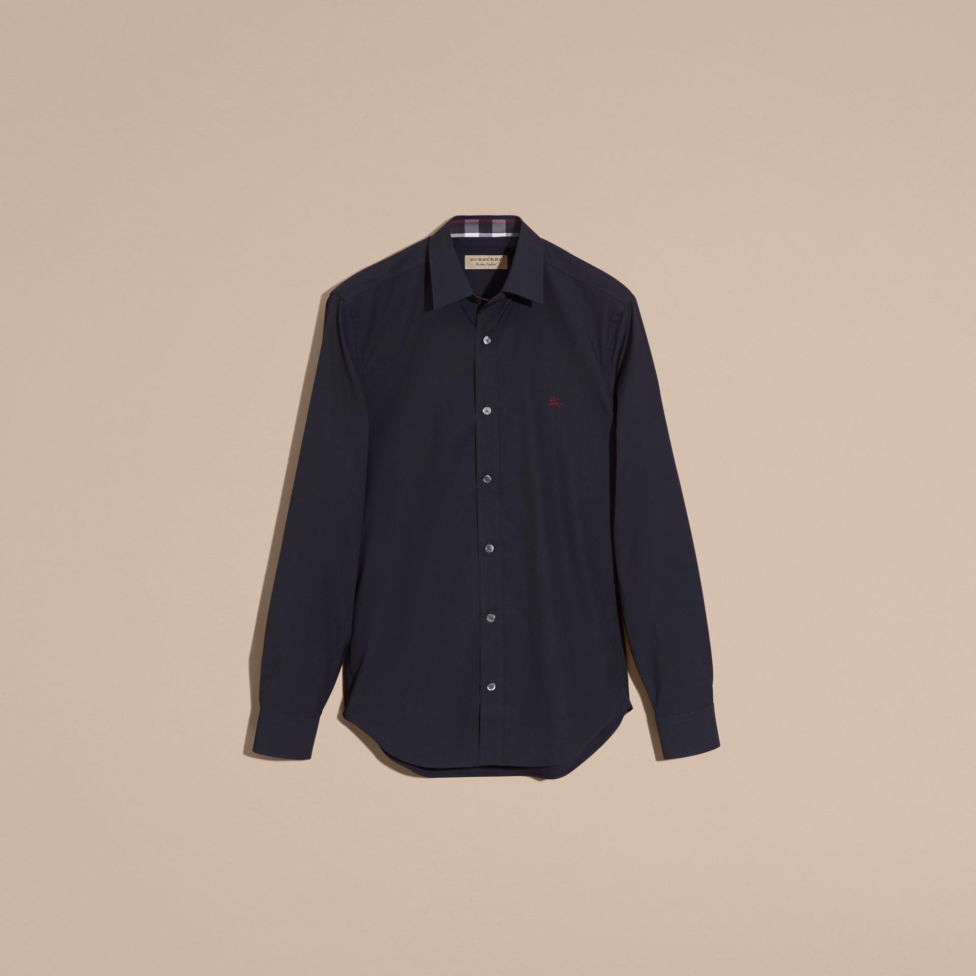 Navy Camicia in cotone stretch con dettagli con motivo check Navy - immagine della galleria 4