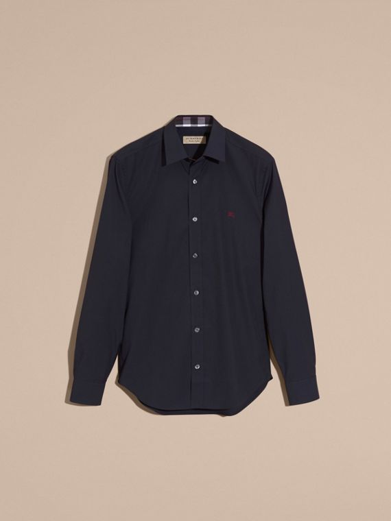 Navy Check Detail Stretch Cotton Shirt Navy - cell image 3