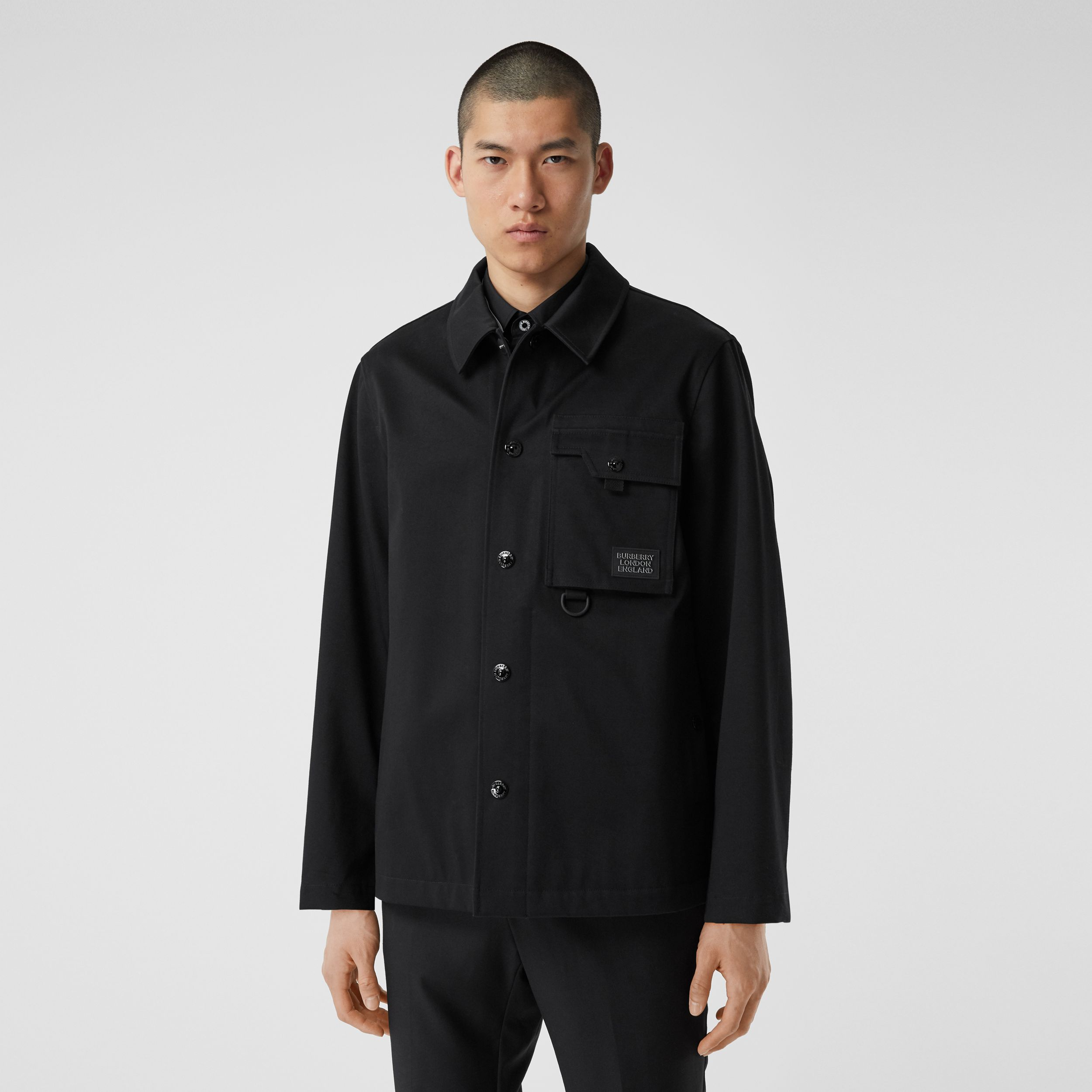 Logo Appliqué Bonded Cotton Sateen Jacket in Black - Men | Burberry - 4
