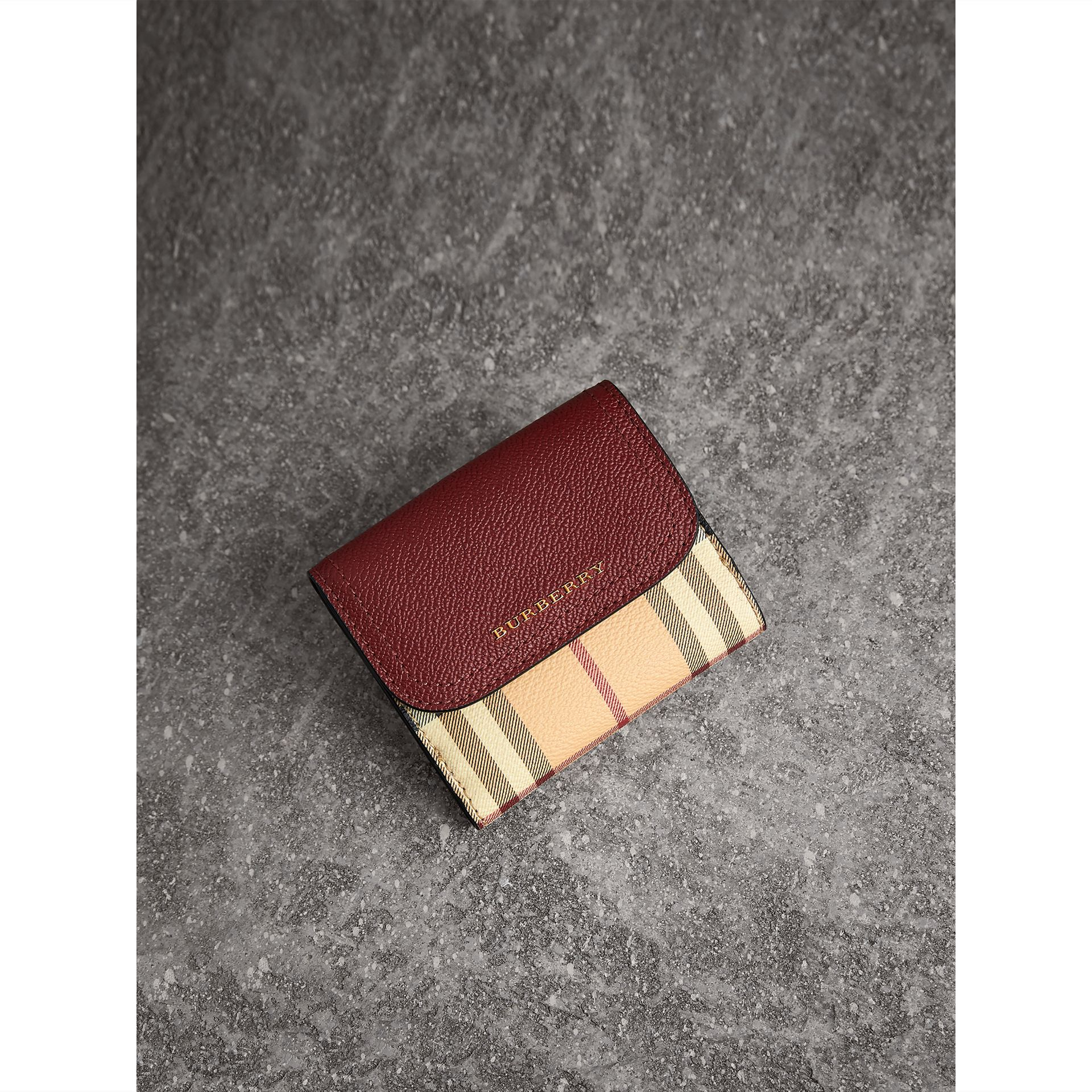 Haymarket Check and Leather Wallet in Burgundy/multicolour - Women | Burberry United Kingdom - gallery image 1