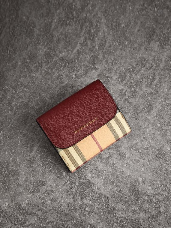 Haymarket Check and Leather Wallet in Burgundy/multicolour