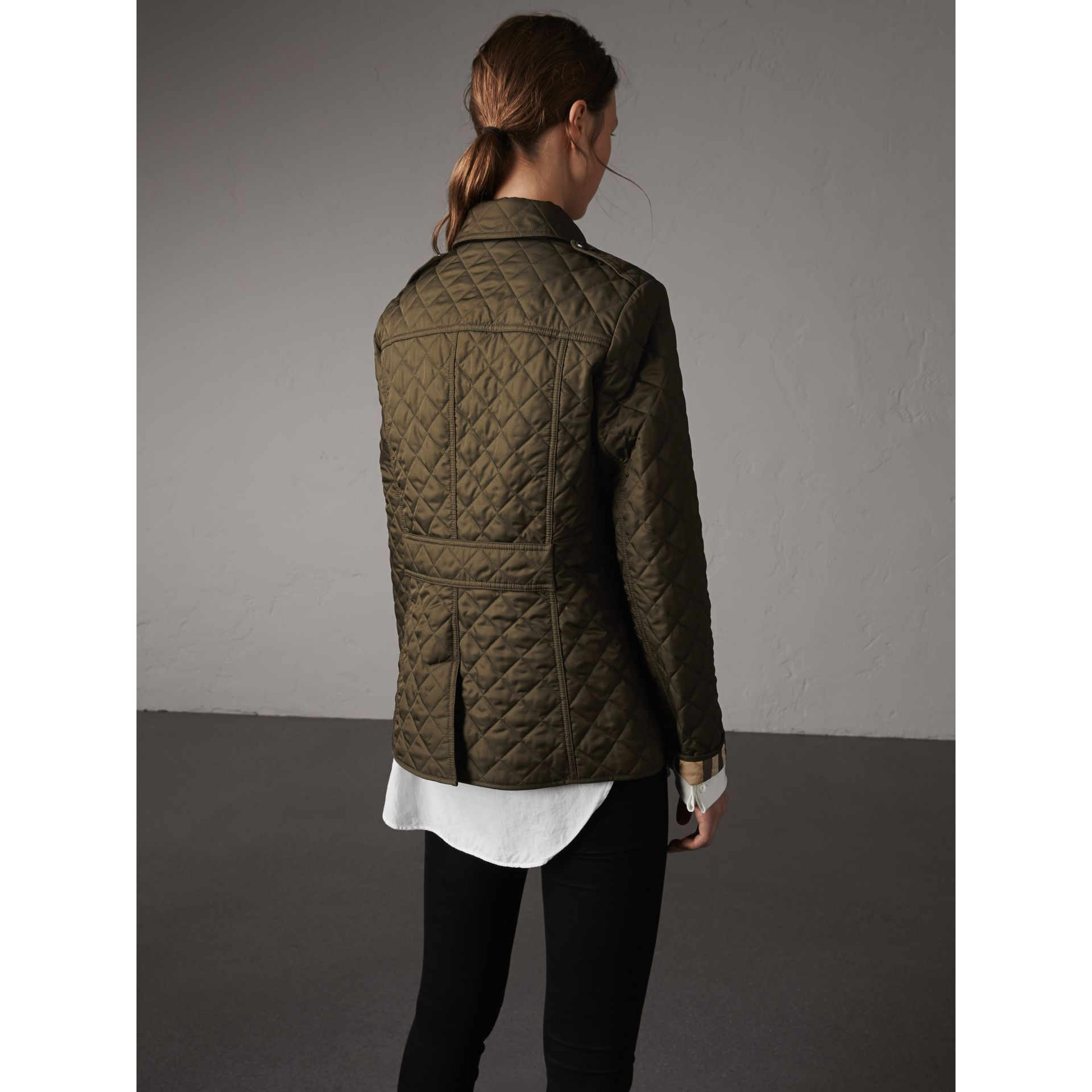 Diamond Quilted Jacket in Dark Olive - Women | Burberry United Kingdom - gallery image 2