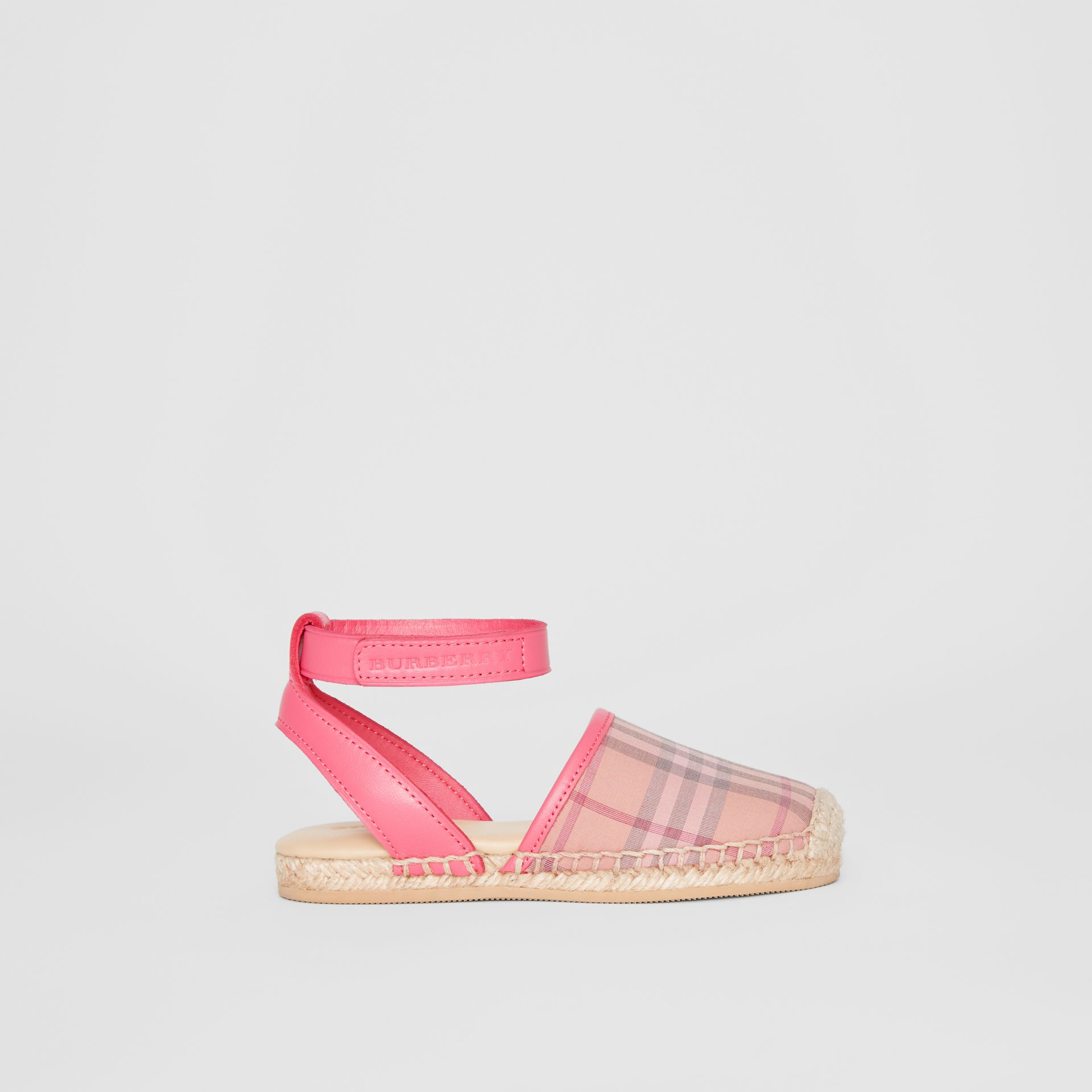 Check and Leather Espadrille Sandals in Bright Rose | Burberry - gallery image 3
