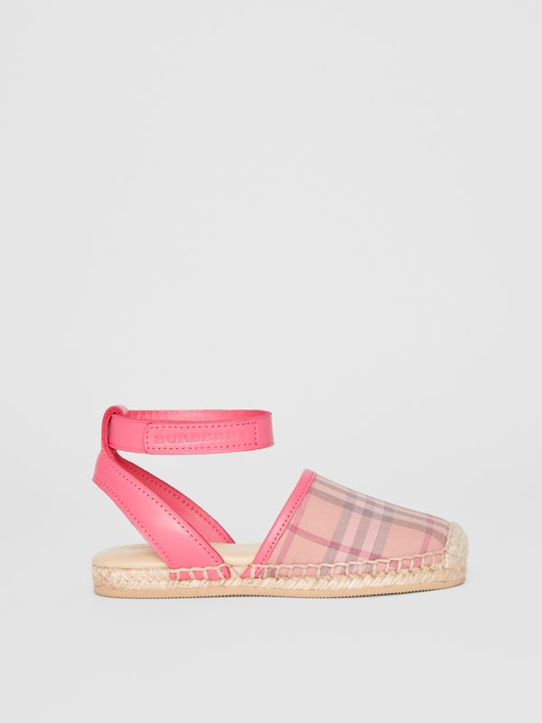 Check and Leather Espadrille Sandals in Bright Rose - Children | Burberry Singapore - cell image 3