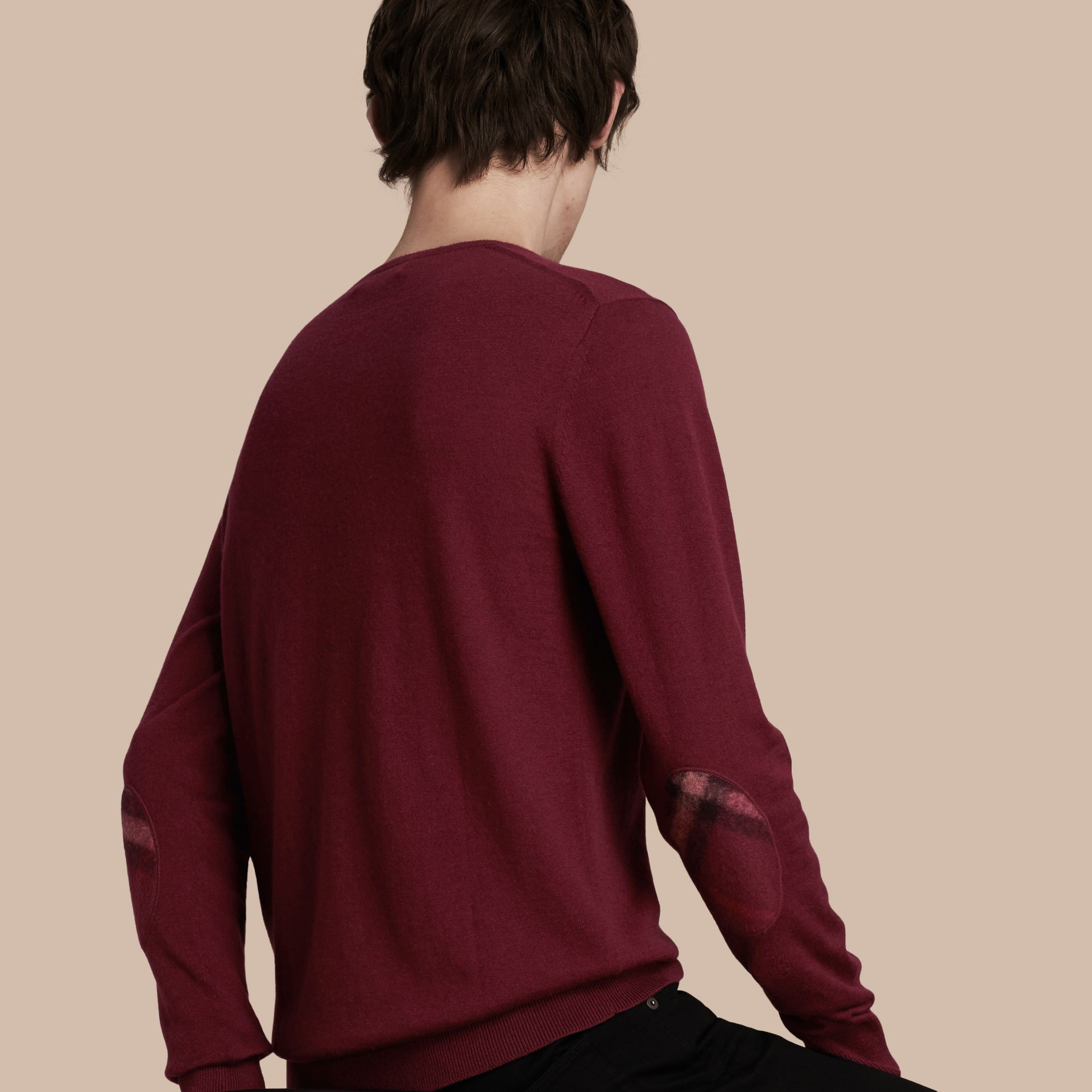 Check Trim Cashmere Cotton Sweater Claret - gallery image 1