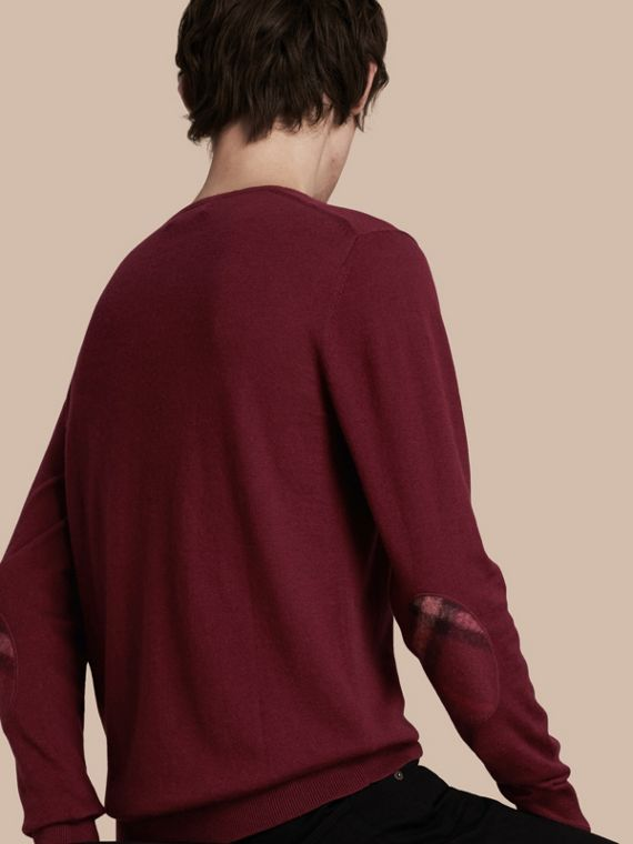 Check Trim Cashmere Cotton Sweater Claret