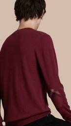 Check Trim Cashmere Cotton Sweater