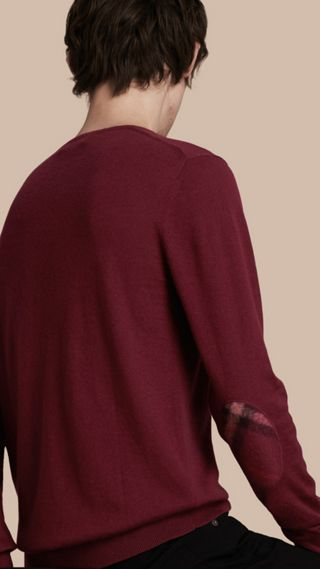 Check Trim Cashmere Cotton Sweater
