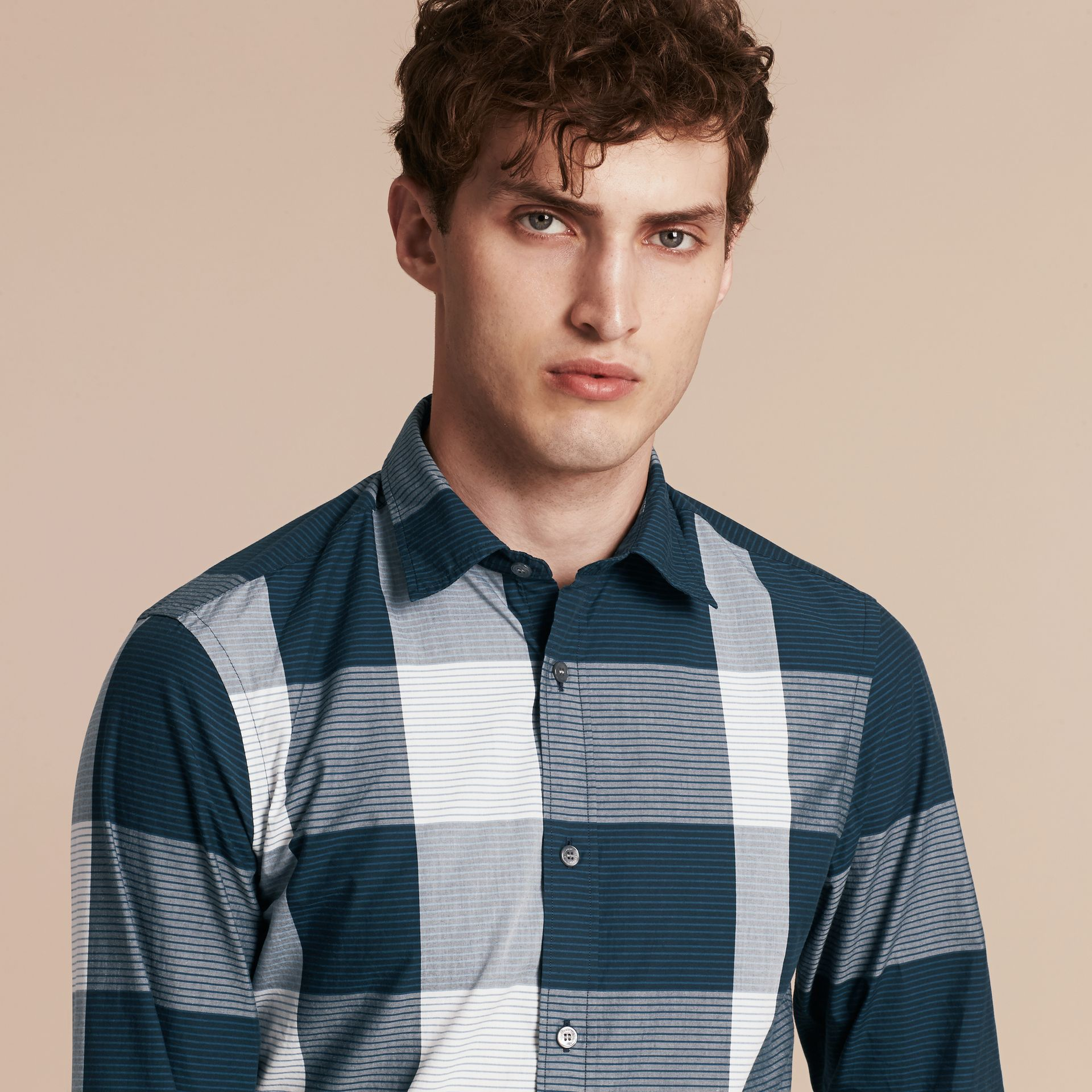Bright steel blue Graphic Check Cotton Shirt Bright Steel Blue - gallery image 5