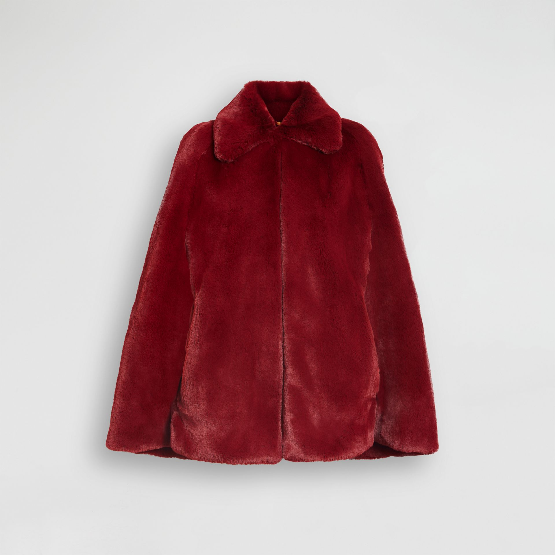 Faux Fur Cape in Burgundy - Women | Burberry - gallery image 3