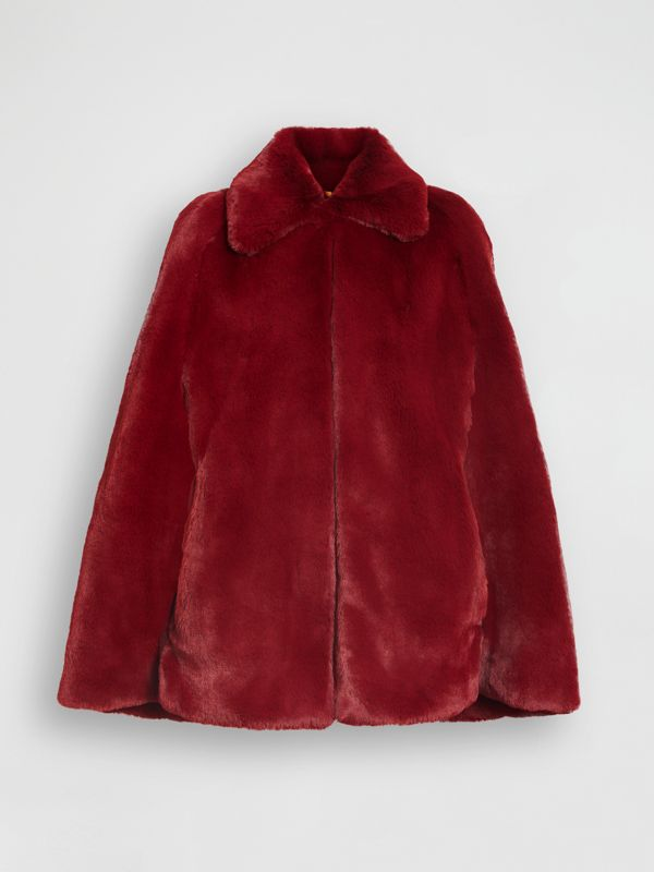 Faux Fur Cape in Burgundy - Women | Burberry - cell image 3