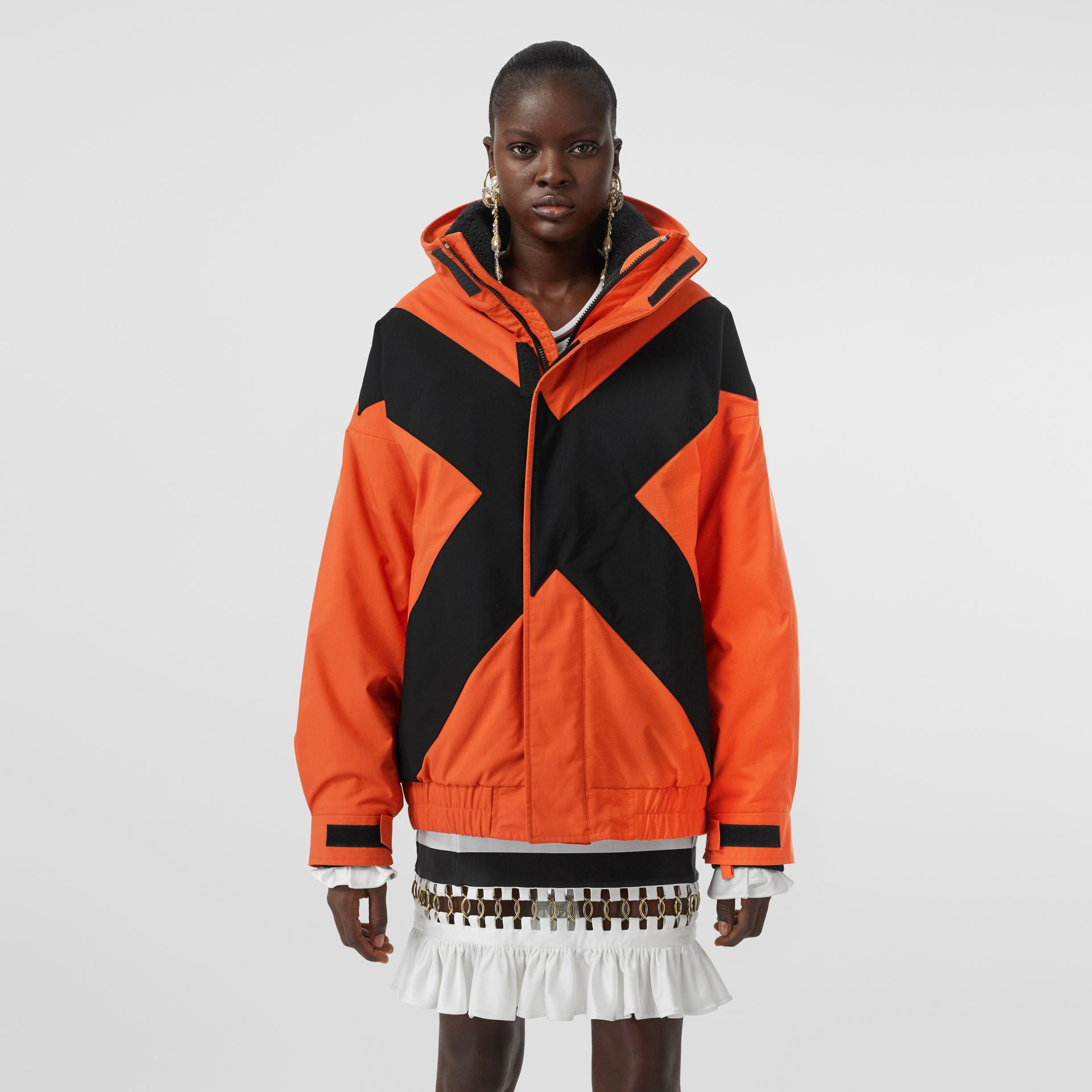 Panelled Nylon Track Jacket with Detachable Warmer in Bright Orange - Women | Burberry - gallery image 4