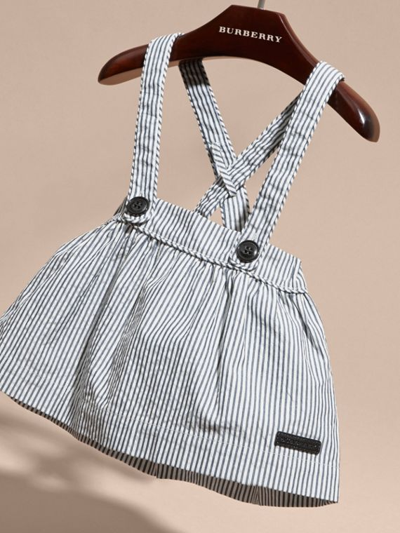 Striped Cotton Blend Pinafore Skirt in Indigo | Burberry - cell image 2