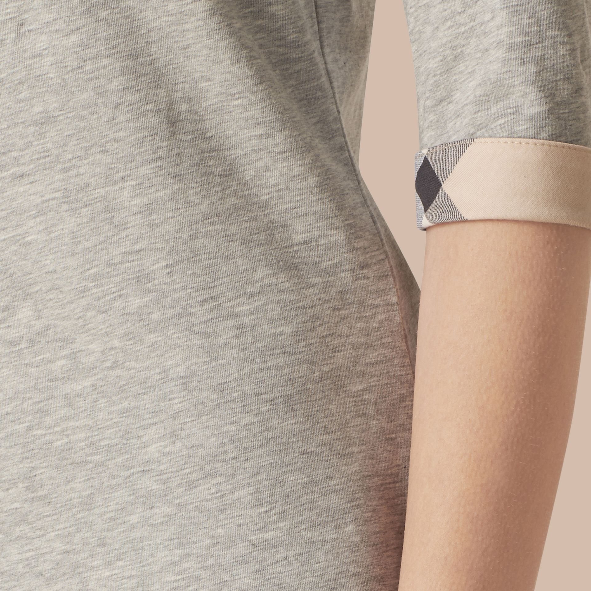 Check Cuff Stretch-Cotton Top Pale Grey Melange - gallery image 2