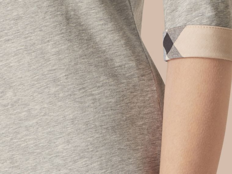 Check Cuff Stretch-Cotton Top Pale Grey Melange - cell image 1