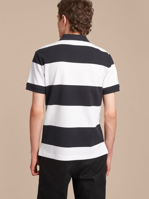 Striped Cotton Piqué Polo Shirt in White/navy - Men | Burberry - cell image 2