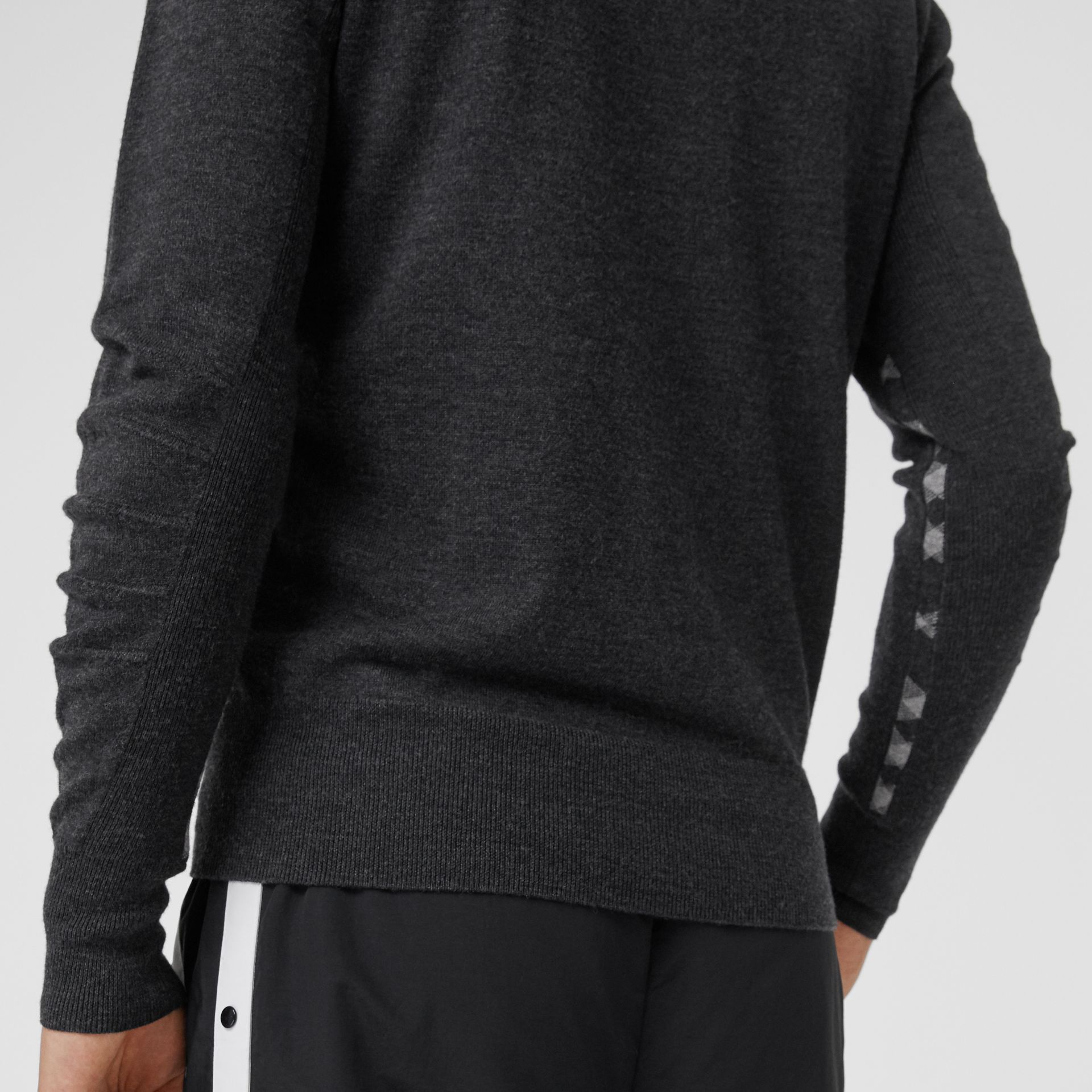 Check Detail Merino Wool Sweater in Charcoal - Men | Burberry - gallery image 1