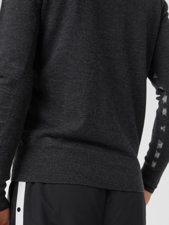 Check Detail Merino Wool Sweater in Charcoal - Men | Burberry Singapore - cell image 1