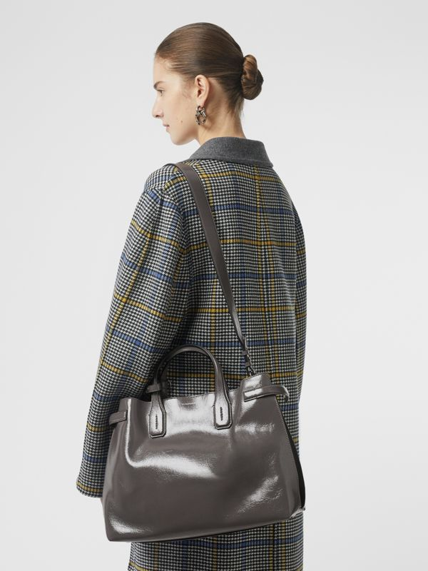 The Medium Soft Leather Banner in Sepia Grey - Women | Burberry - cell image 2