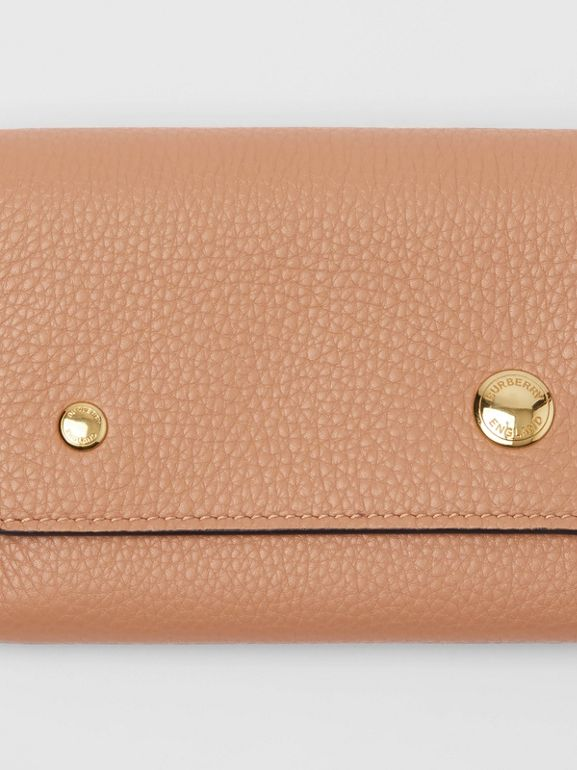 Grainy Leather Continental Wallet in Light Camel - Women | Burberry Australia - cell image 1