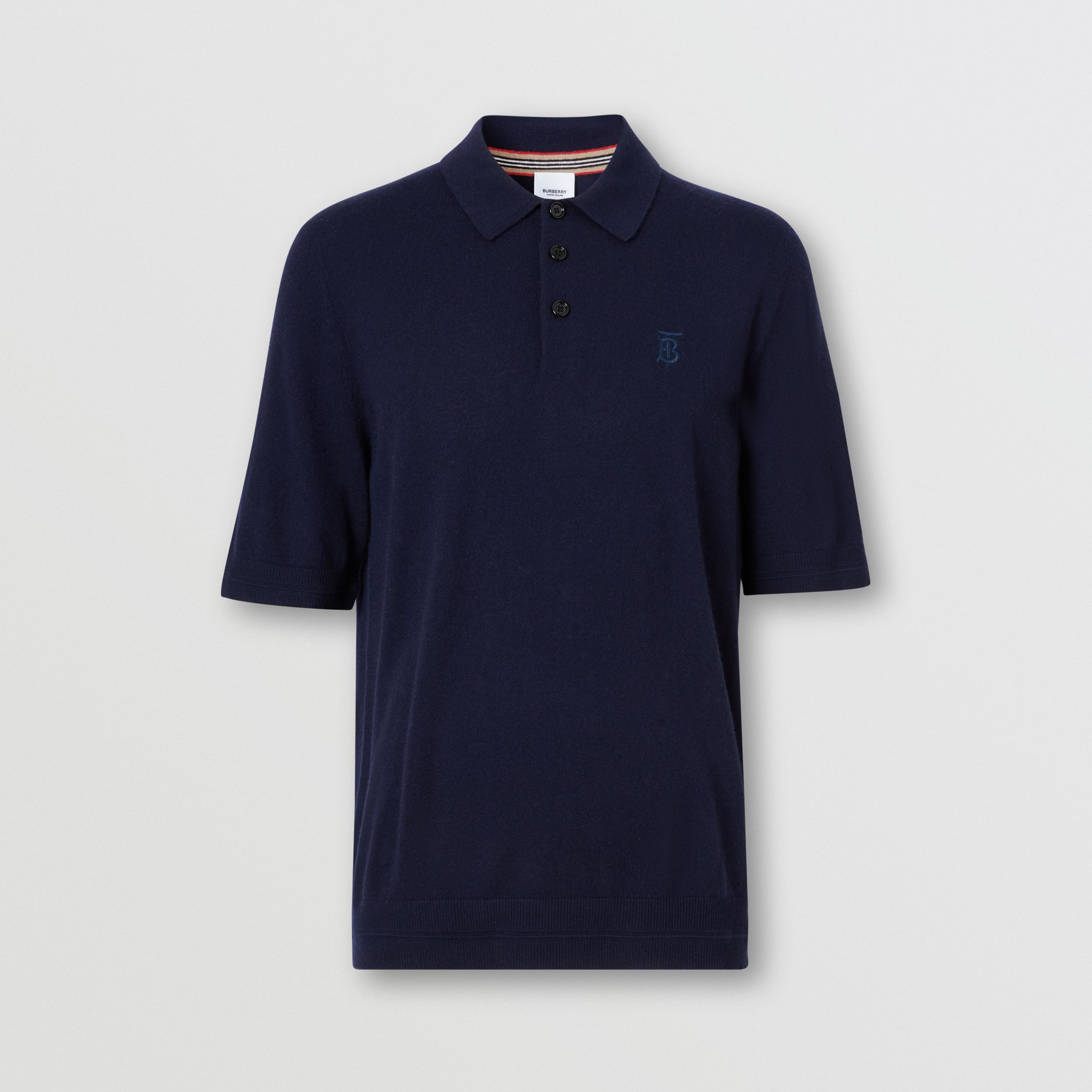 Monogram Motif Cashmere Polo Shirt in Navy - Men | Burberry Australia - 4