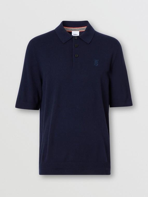 Polo en cachemir con detalle de monograma (Azul Marino)