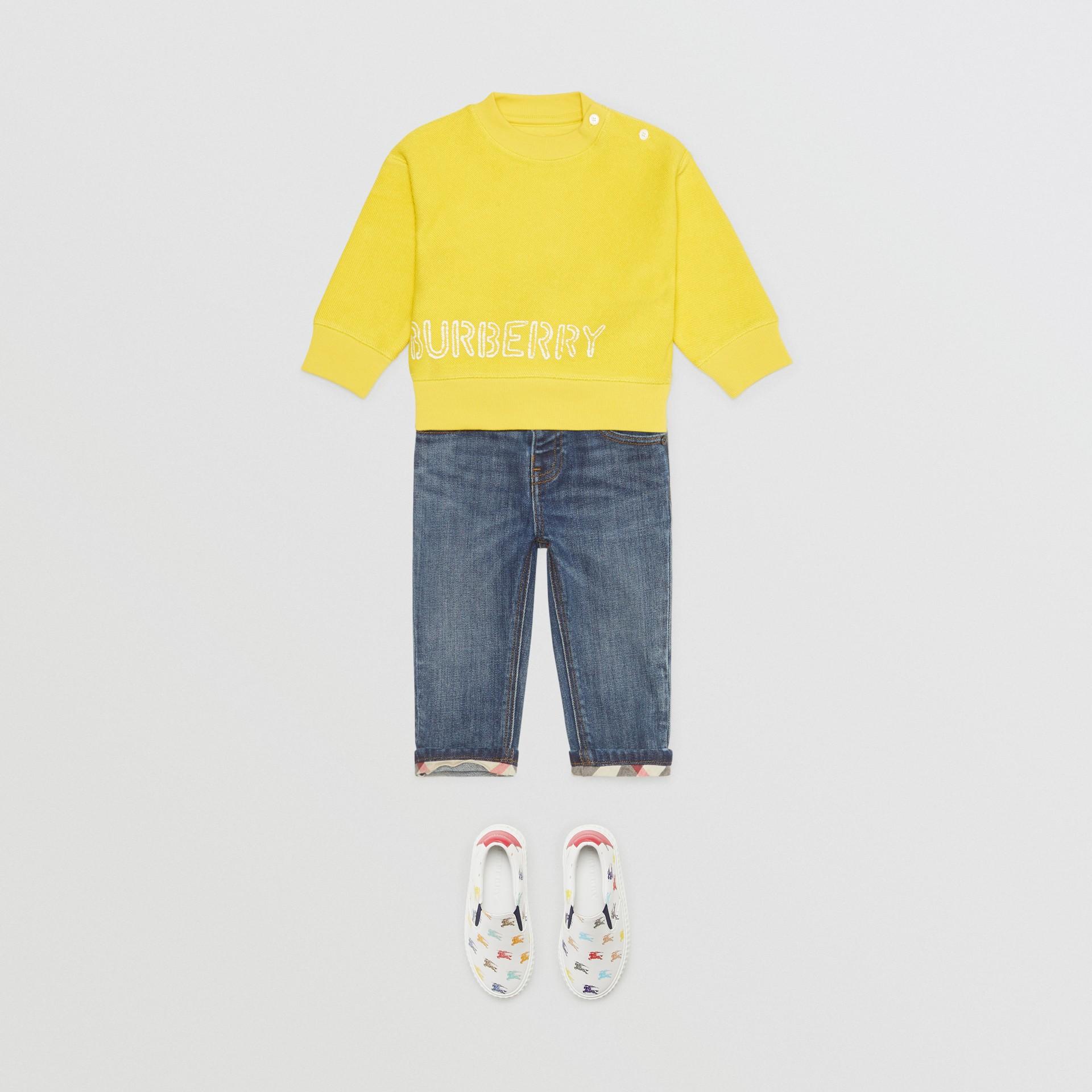 Stencil Logo Print Cotton Sweatshirt in Citron - Children | Burberry Canada - gallery image 2